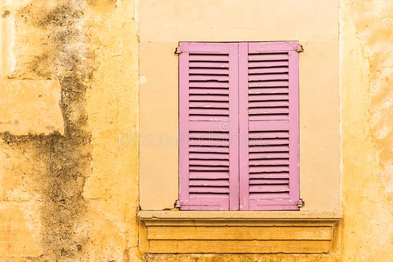 Grunge wall and window of old antique Villa, detail view royalty free stock photos