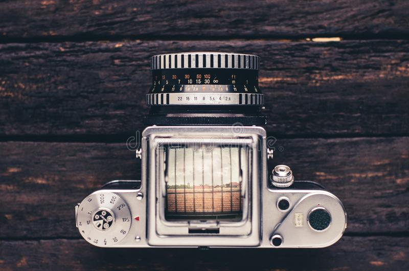 Old medium format film camera art deco style royalty free stock image