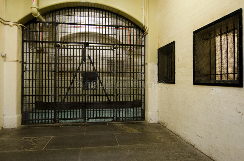 Old Melbourne Gaol. MELBOURNE - APR 11 2014:Old Melbourne Gaol interior, As of 2010, the gaol is recognized as Victoria's oldest surviving penal establishment stock photos
