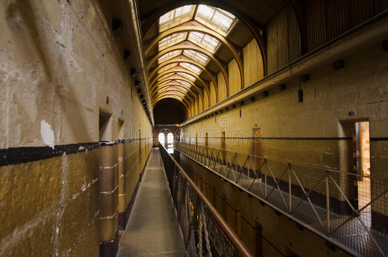 Old Melbourne Gaol. MELBOURNE - APR 11 2014:Old Melbourne Gaol interior, As of 2010, the gaol is recognized as Victoria's oldest surviving penal establishment royalty free stock images