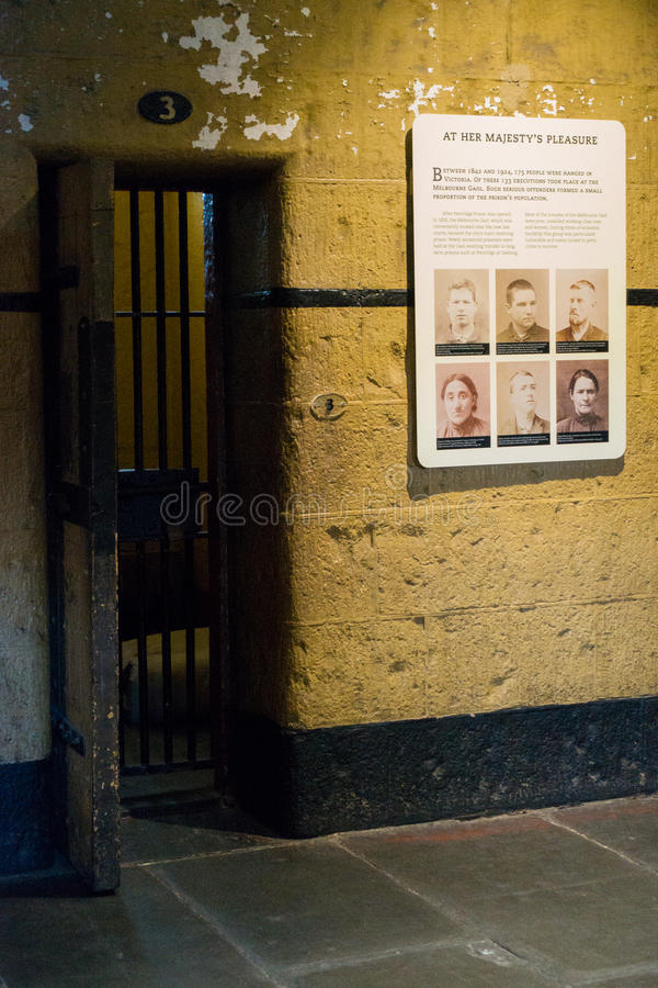 Old Melbourne Gaol. Cell block at Old Melbourne Gaol in Victoria, Australia. Photo taken on 11th April, 2015 stock photos