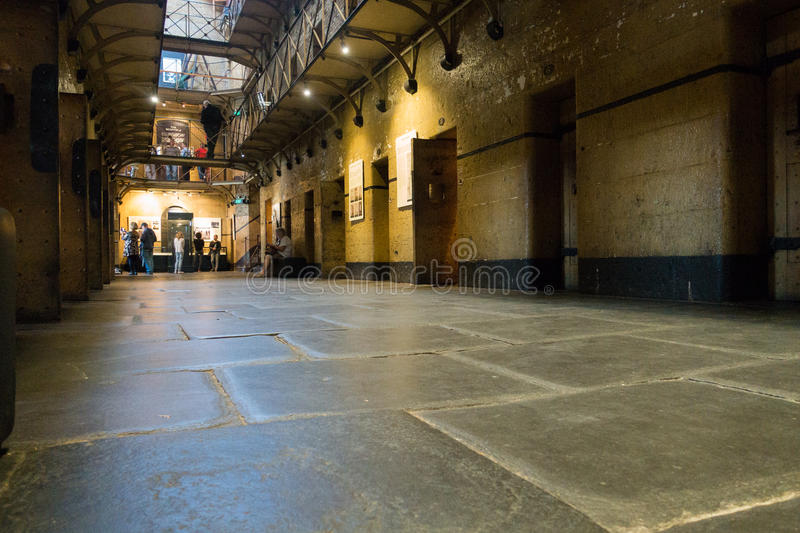 Old Melbourne Gaol. Cell blocks at Old Melbourne Gaol in Victoria, Australia. Photo taken on 11th April, 2015 stock images