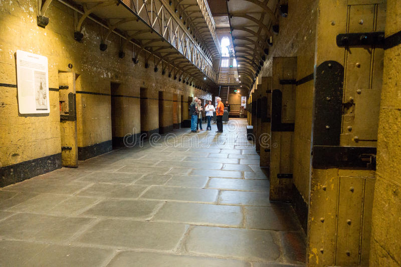 Old Melbourne Gaol. Cell blocks at Old Melbourne Gaol in Victoria, Australia. Photo taken on 11th April, 2015 stock image