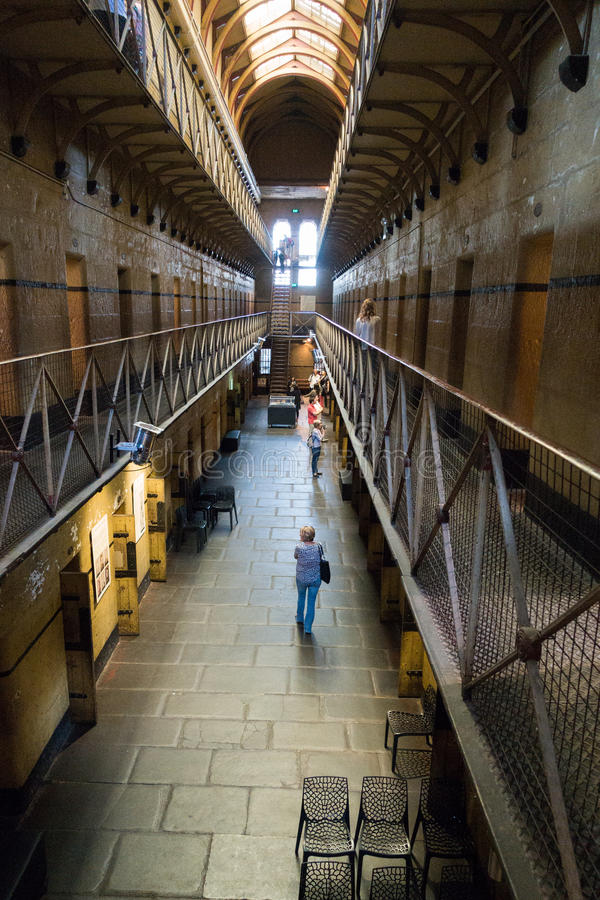 Old Melbourne Gaol. Cell blocks at Old Melbourne Gaol in Victoria, Australia. Photo taken on 11th April, 2015 royalty free stock photo