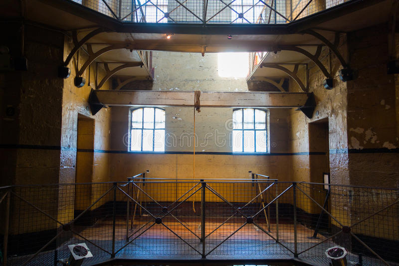 Old Melbourne Gaol - gallows. Gallows where infamous bushranger Ned Kelly was hung at Old Melbourne Gaol in Victoria, Australia. Photo taken on 11th April, 2015 royalty free stock images