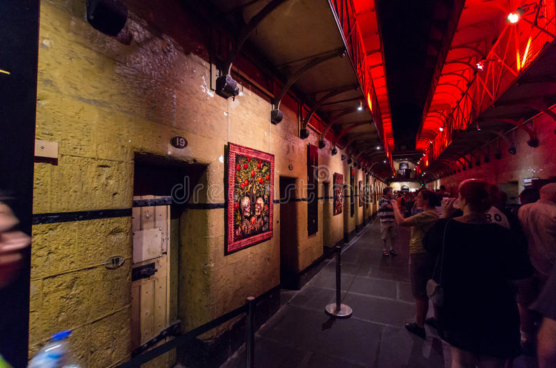 Old Melbourne Gaol. Interior of the Old Melbourne Gaol, of which construction began in 1839 and which operated from 1842 to 1929, during the 2015 White Night royalty free stock image