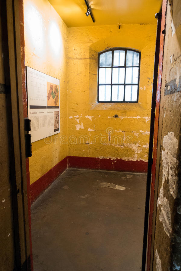 Old Melbourne Gaol - Ned Kelly cell. Images of Ned Kelly, infamous Australian bush ranger inside Ned's cell at Old Melbourne Gaol in Victoria, Australia. Photo stock image