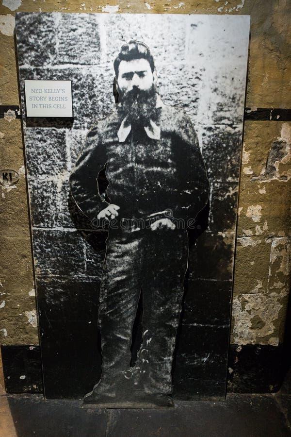 Old Melbourne Gaol - Ned Kelly. Image of Ned Kelly, infamous Australian bush ranger outside cell block at Old Melbourne Gaol in Victoria, Australia. Photo taken royalty free stock images