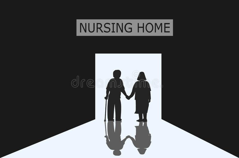 Old men and women who are couples are entering the door of the nursing home with light royalty free illustration