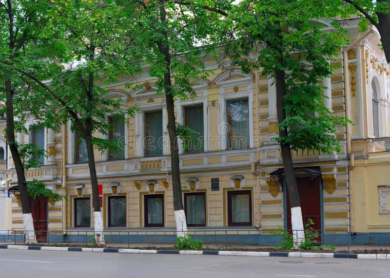 Old merchant houses, the facades - on the street Elias - Nizhny Novgorod. stock photo