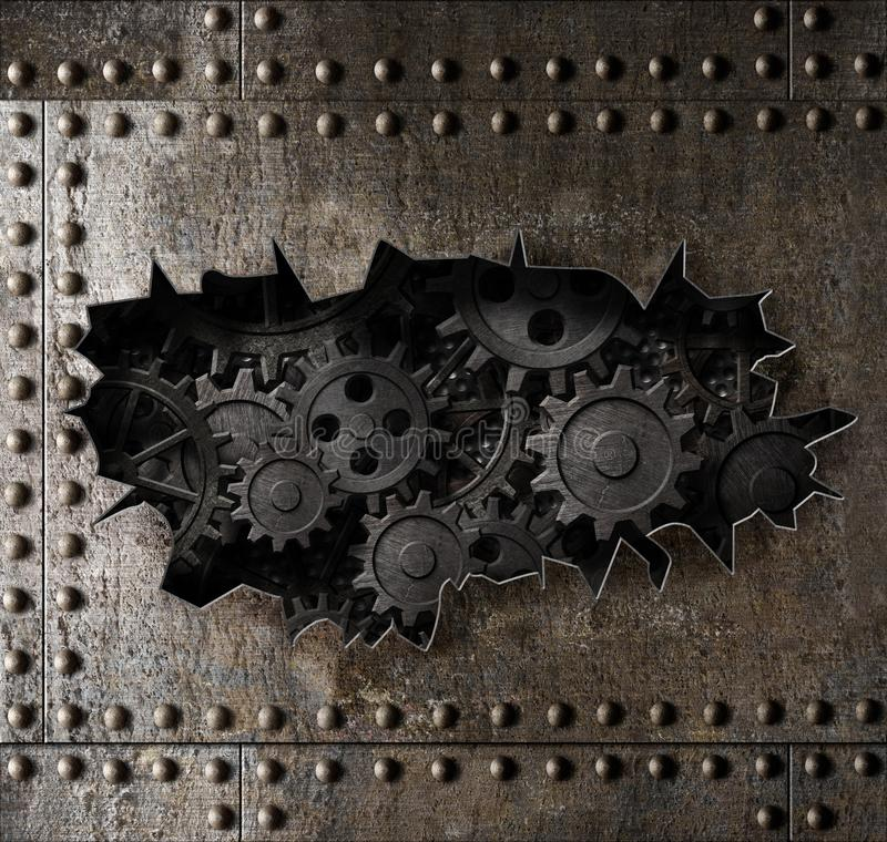 Old metal armour background with rusty gears and cogs 3d illustration. Old metal armour background with rusty gears and cogs royalty free illustration