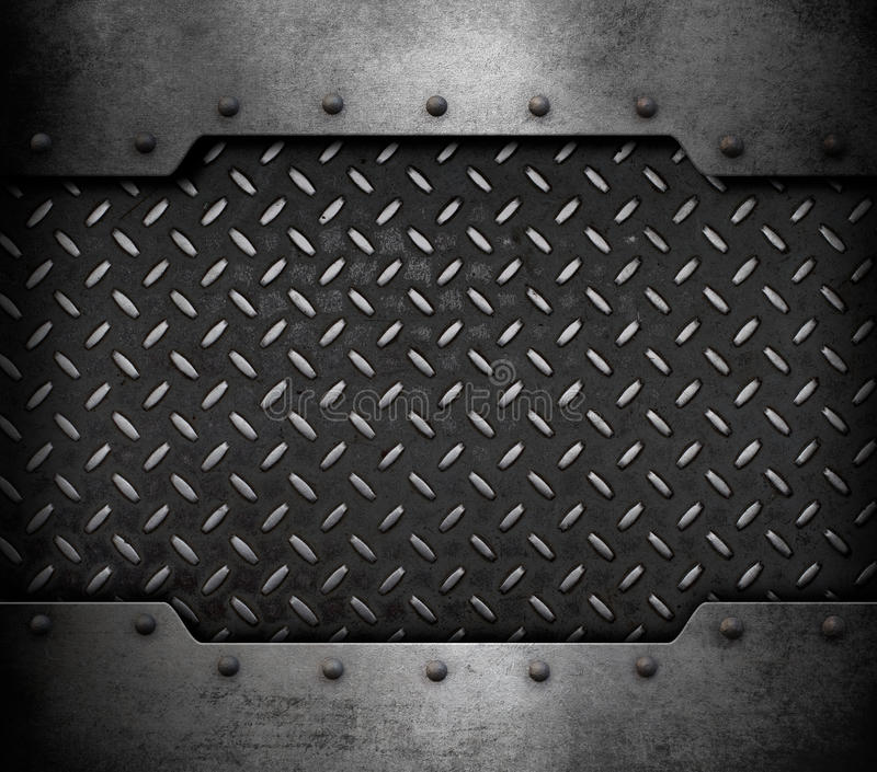 Metal plate background with rivets 3d illustration. Old metal armour plate background with rivets vector illustration
