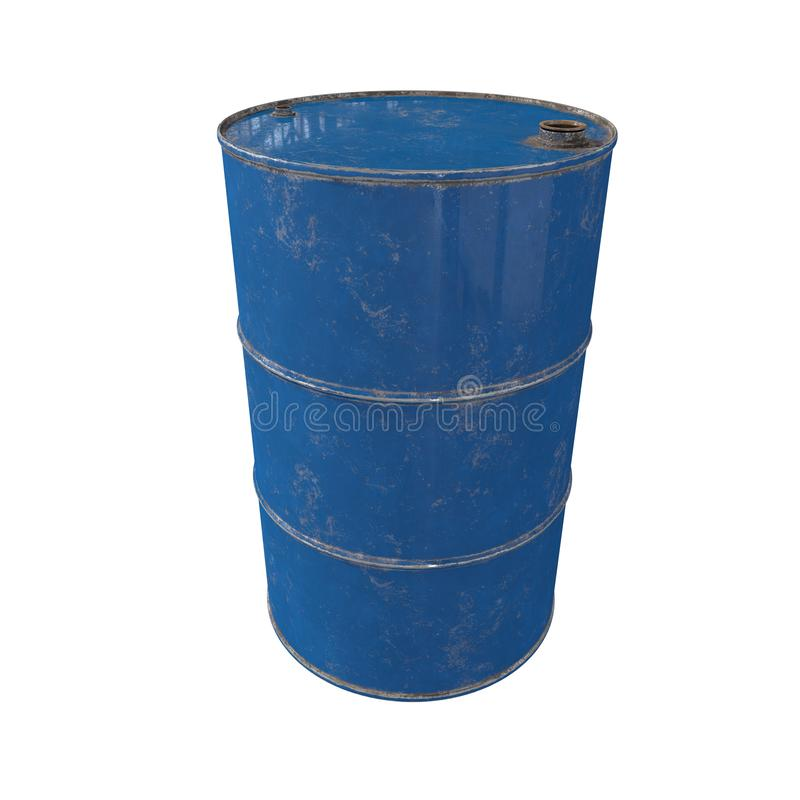 Old metal blue barrel. Isolated. 3D render. royalty free stock photography