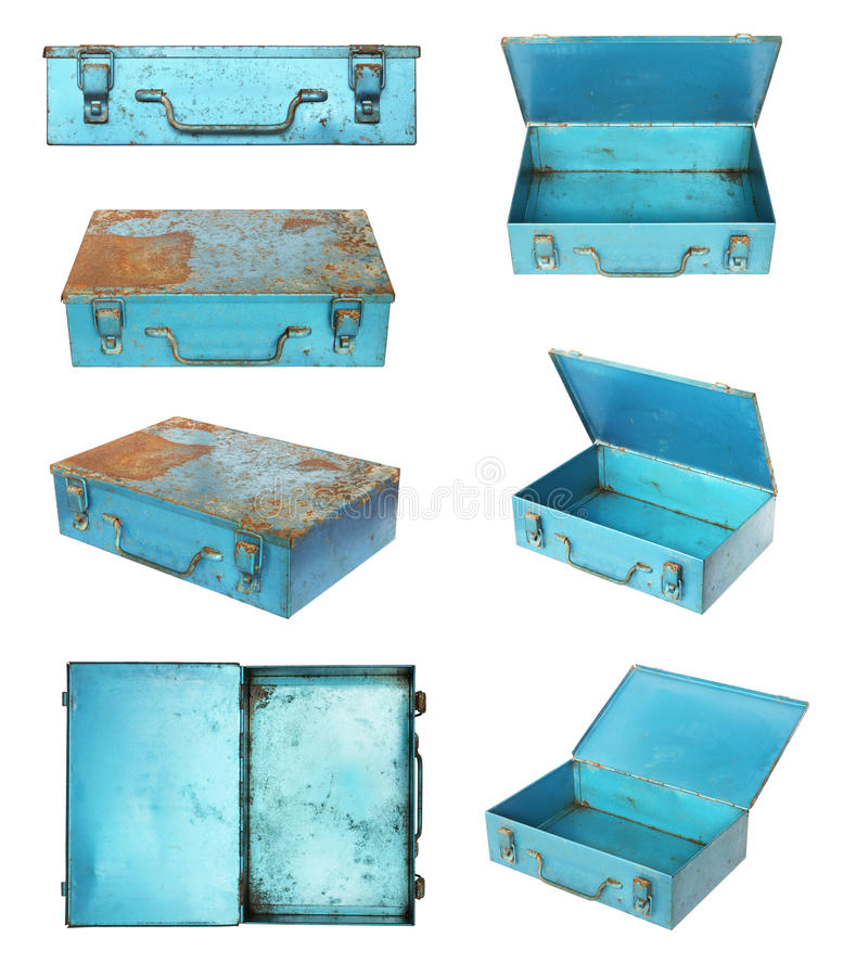 Old metal box stock image