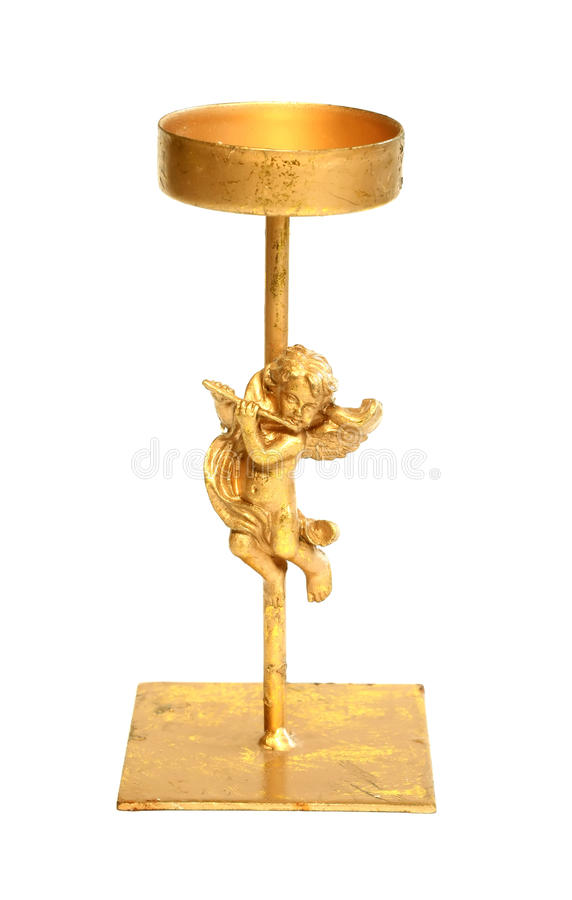 Download Old Metal Candlestick With Angel Isolated On White Stock Image - Image of star, symbol: 11929123