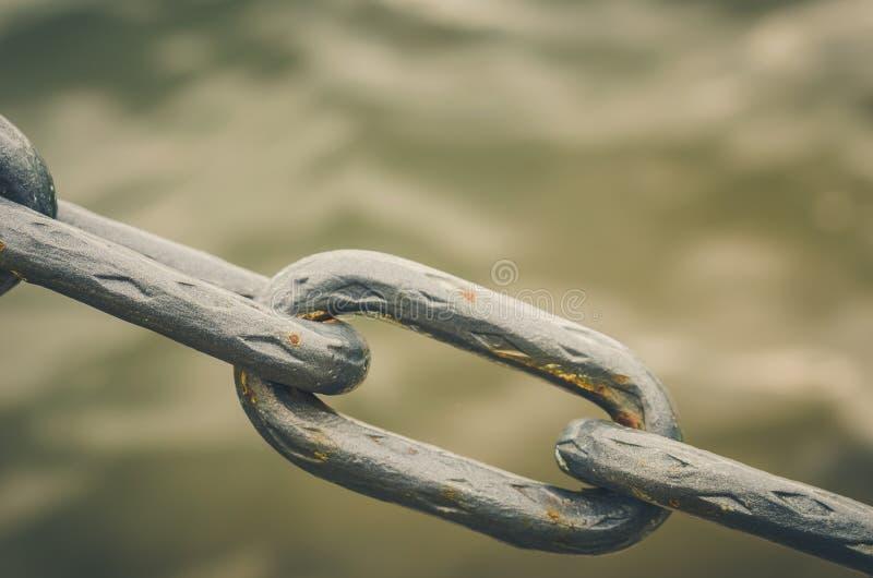 Old metal chain links/old metal chain links on a water background. Old metal chain links /old metal chain links on a water background stock images