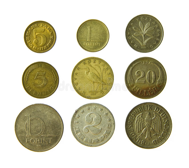 Old metal coins. Isolated on a white background royalty free stock photo