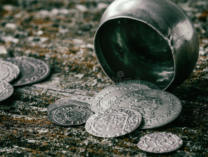 Old metal coins stock image