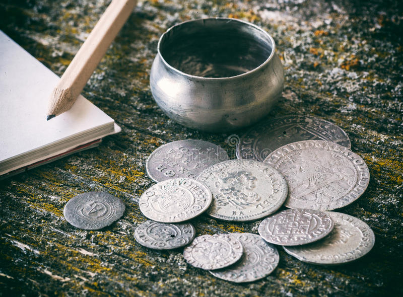 Old metal coins stock images
