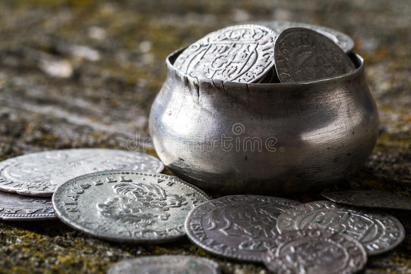 Old metal coins royalty free stock image