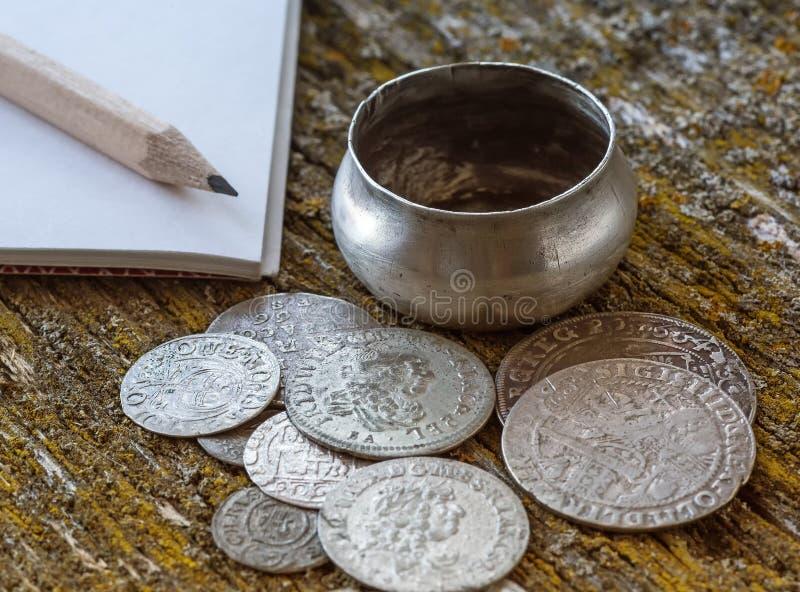 Old metal coins stock photos