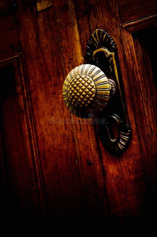 Old metal door handle stock photos
