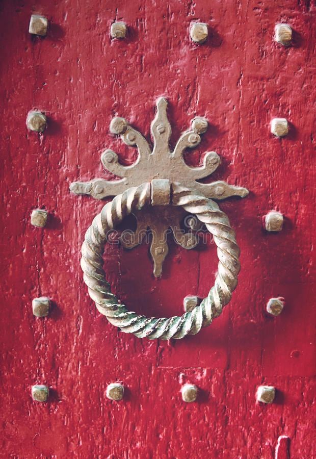 Old metal door knocker closeup royalty free stock photos