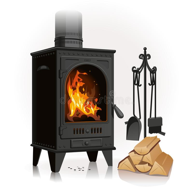 Old Metal Fireplace and log royalty free illustration
