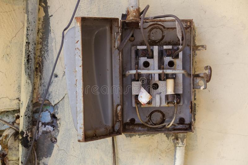 Old metal fuse box stock photography