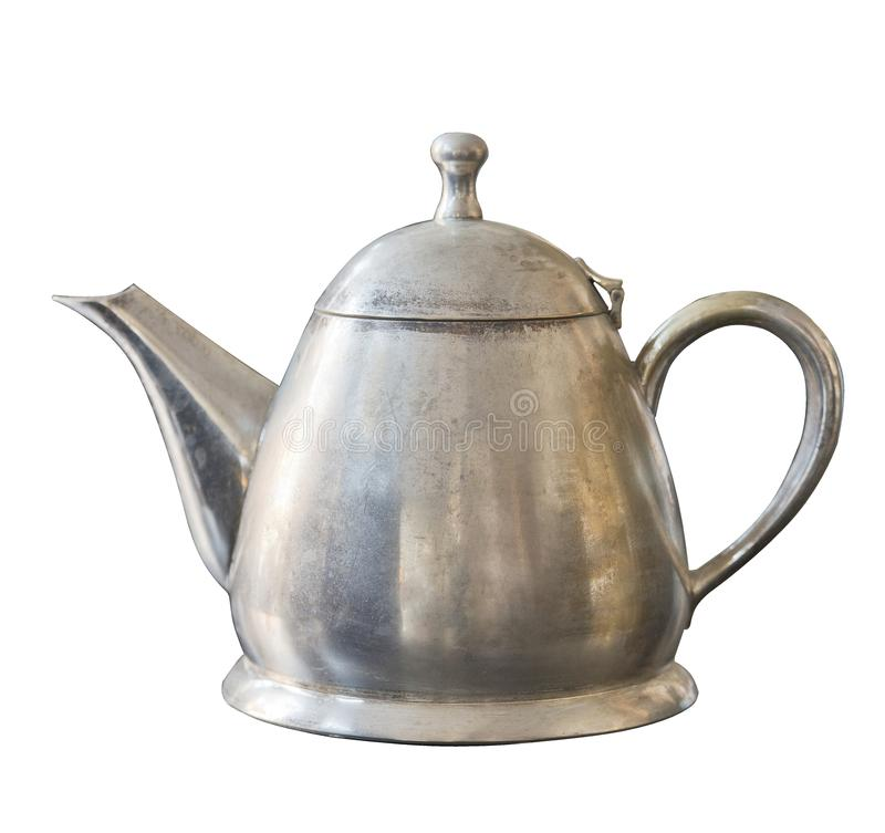 Old metal kettle isolated on white background. Vintage shabby dishes.  stock photography