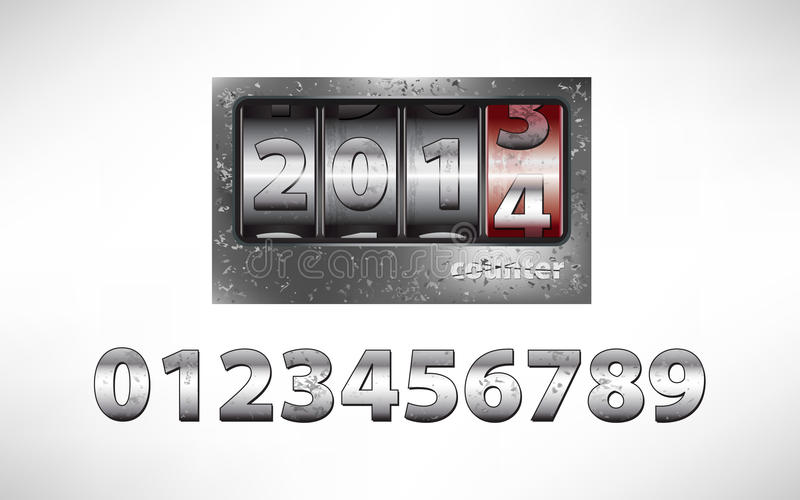 Download Old Metal Mechanical Counter Year 2014 Stock Vector - Illustration of calendar, iron: 32523927