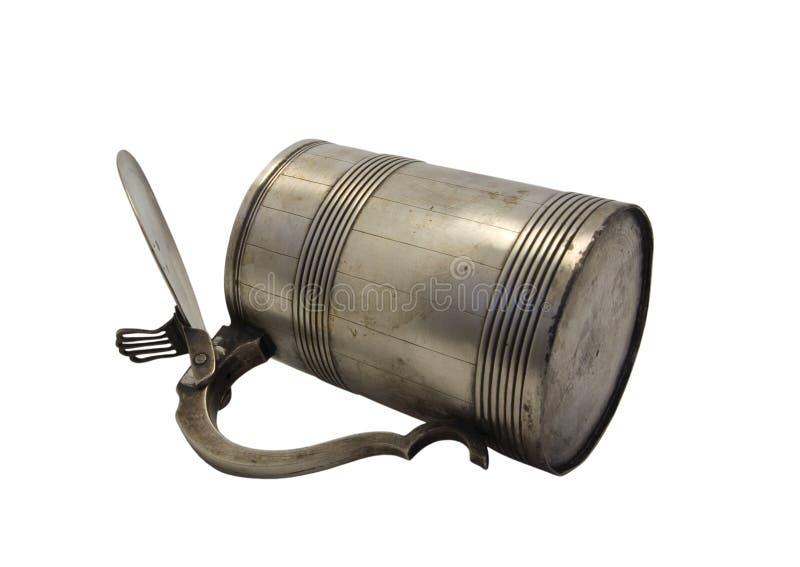 Old metal mug stock image