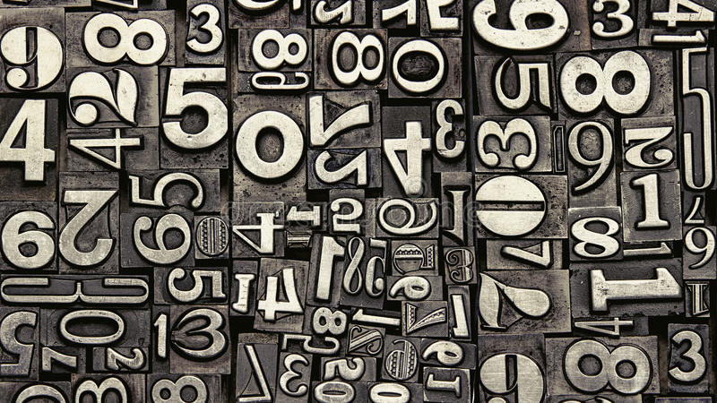 Old metal numbers royalty free stock image