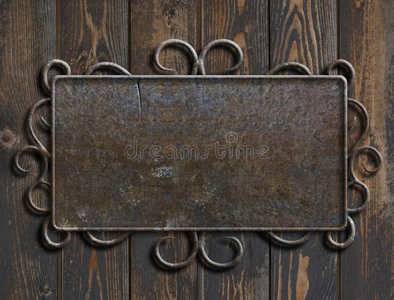 Old metal plate or sign on vintage wooden door 3d illustration royalty free stock photography