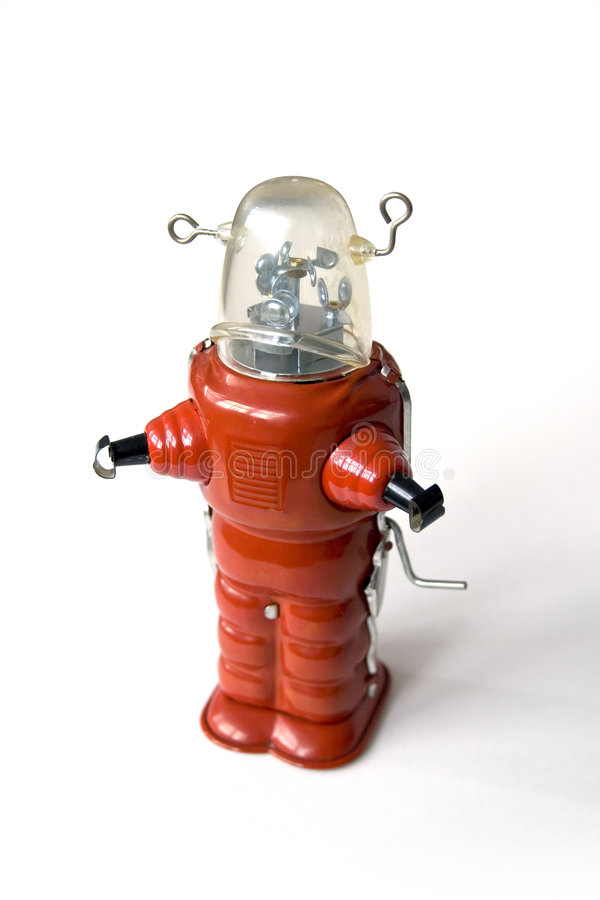 Old metal robot - Vintage toy stock photo
