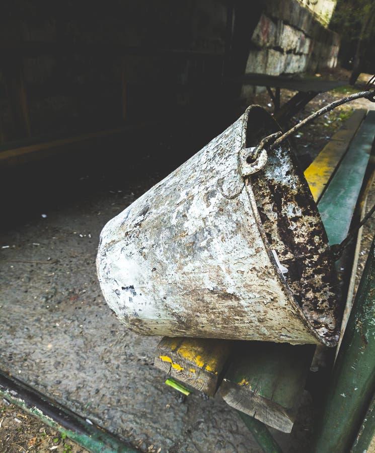 Old metal rusted bucket. Closeup stock photos