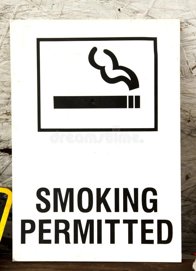 Old Smoking Permitted Wall Sign royalty free stock images