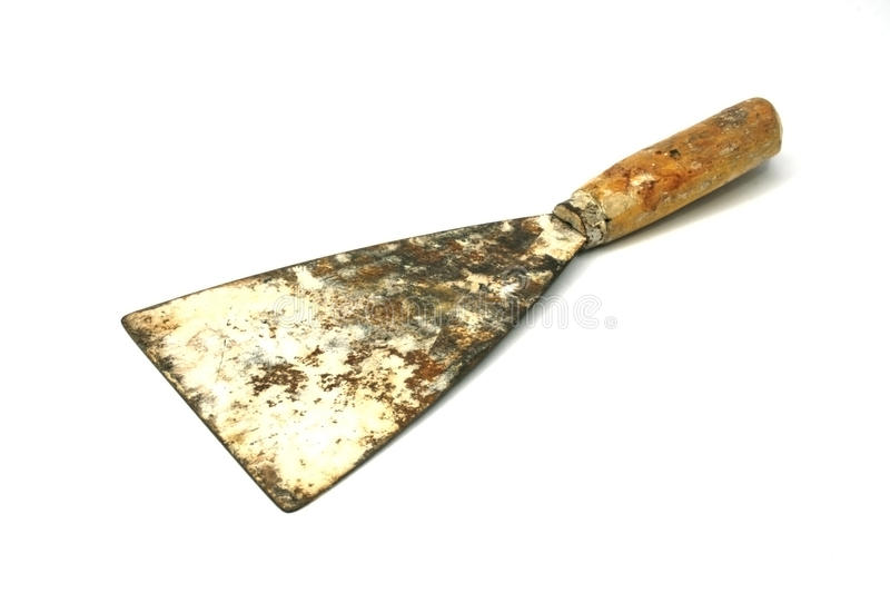 Old metal spatula isolated stock images