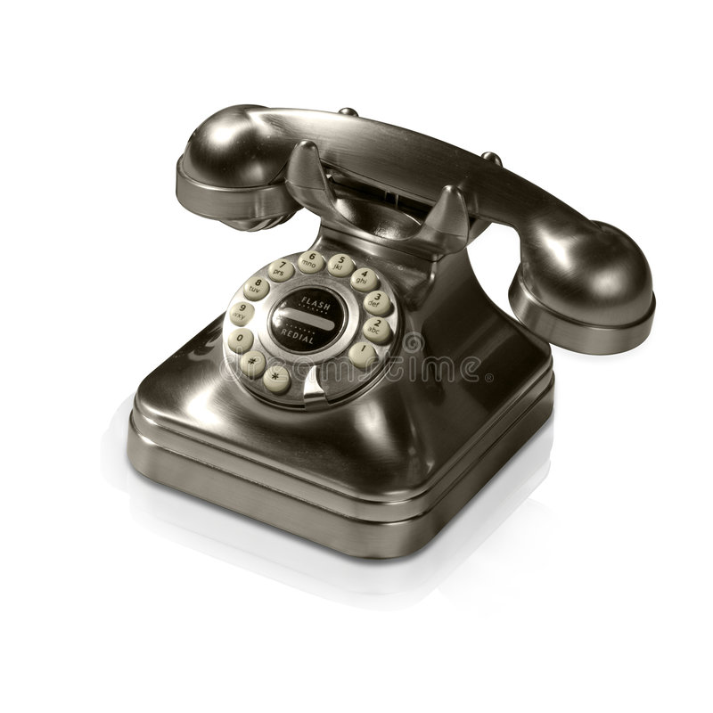 Download Old Metal Telephone (with Clipping Path And Reflec Stock Photo - Image: 4483516