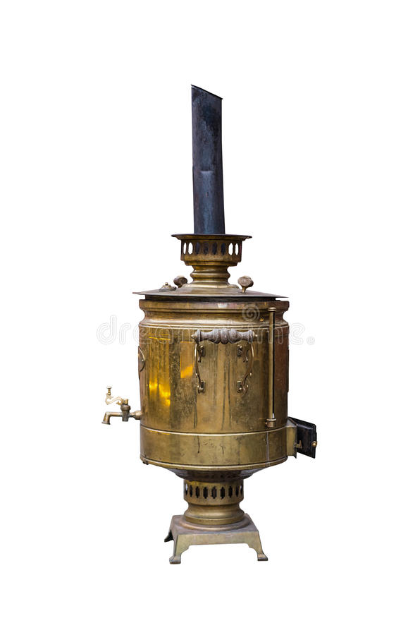Old metallic copper big samovar with a pipe on a white isolated stock image
