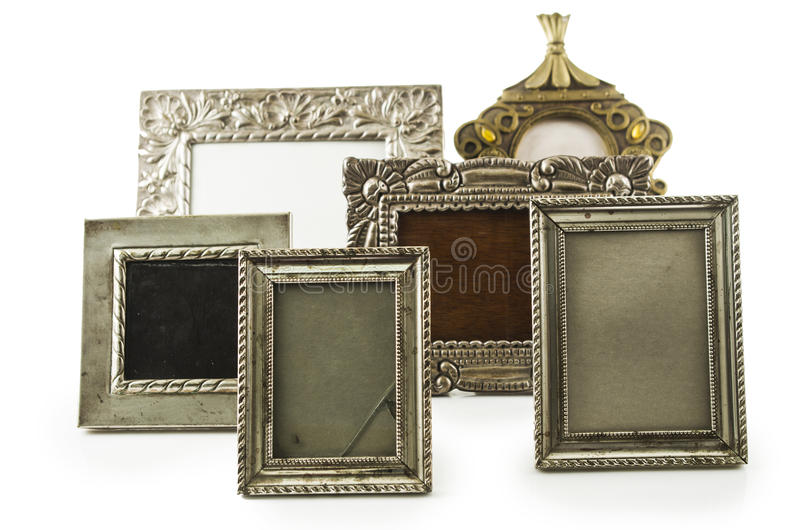 Old metallic photo frame royalty free stock photography
