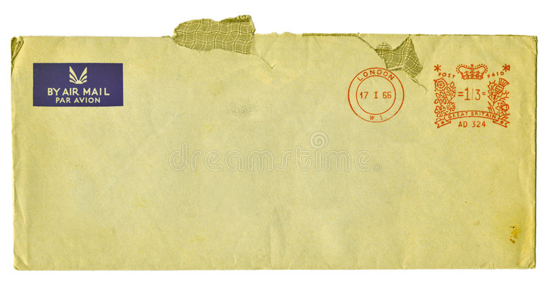 Old metered airmail envelope. Old (1966) metered airmail envelope from England royalty free stock photos
