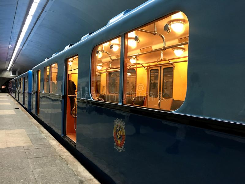 Old metro car. Transport of the USSR. In the picture shows Old metro car. Transport of the USSR a state that is not now. Wagon, train - museum royalty free stock photography