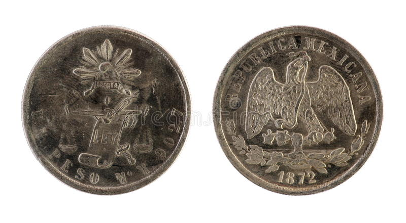 Download Old Mexican Coin. (1872 Year) Stock Image - Image: 18735691