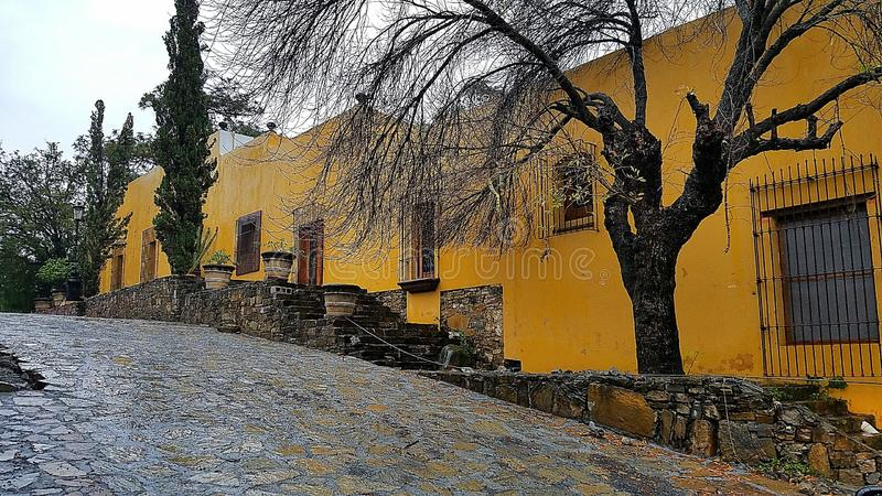 Old Mexico. Photo taken in a small Mexican village in the mountains near Monterrey. Villa de Santiago is beautiful! Lots of bright colors and hacienda style royalty free stock photos