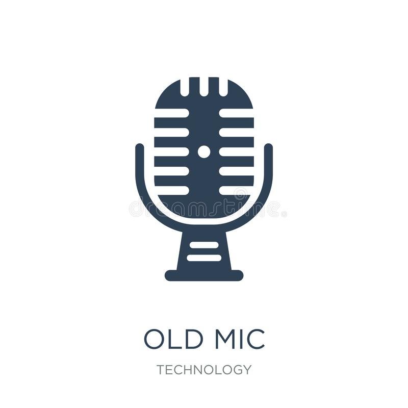 Old mic icon in trendy design style. old mic icon isolated on white background. old mic vector icon simple and modern flat symbol. For web site, mobile, logo royalty free illustration