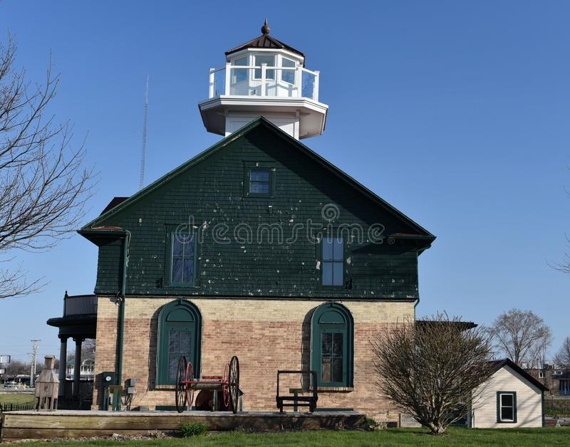 Old Michigan City Lighthouse. This is a Spring picture of the Old Michigan City Courthouse located in Michigan City, Indiana. The lighthouse was built on the royalty free stock images