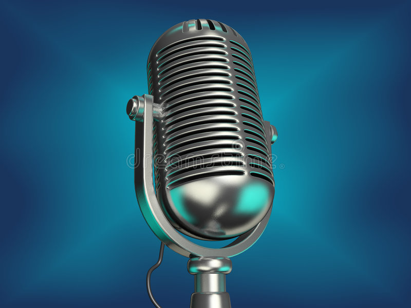 Old microphone. An old chromed microphone on blue background - 3d render