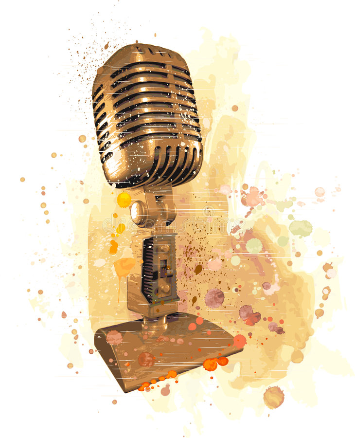 Old microphone. Vector vintage microphone & watercolor background