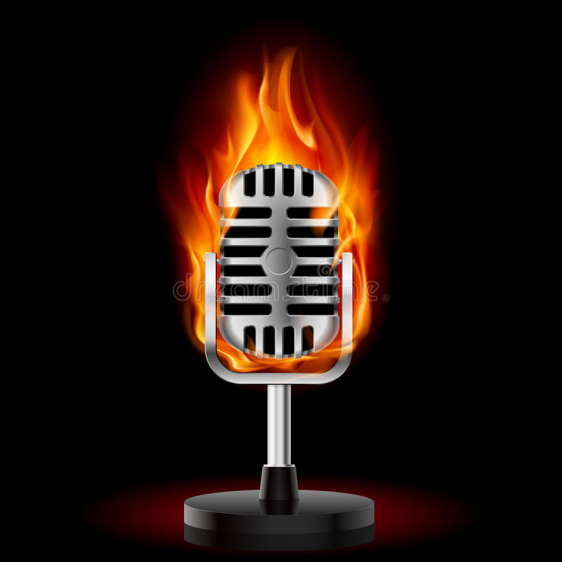 Old Microphone In Fire. Stock Image